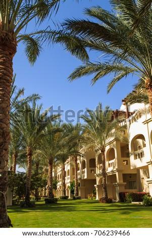 Beautiful landscape design of the sea resort #706239466