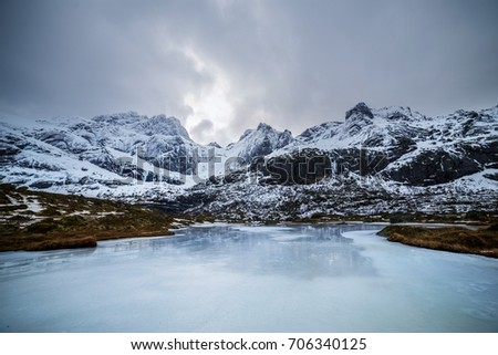 Icy snowy stunning landscape in Northern Europe. Norway