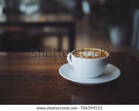 coffee latte art in coffee shop cafe #706394515