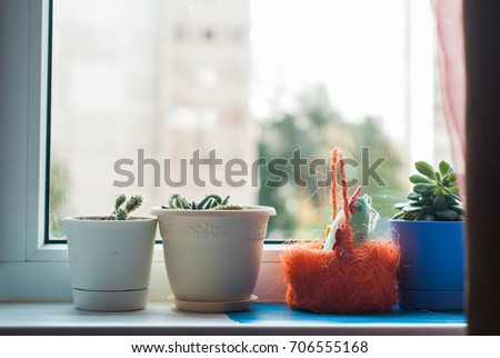 A vase of flowers on the windowsill, overlooking the city #706555168