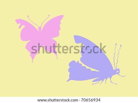 silhouette butterfly on yellow background