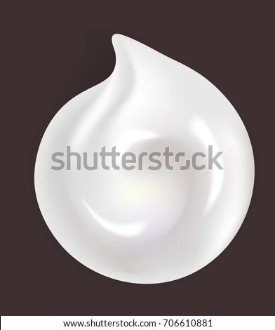 Round shiny white cream smear isolated realistic illustration #706610881
