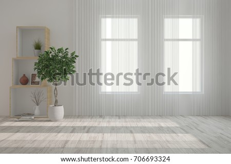 White empty room with green flower. Scandinavian interior design. 3D illustration #706693324