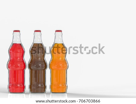3d rendering. red, black and orange color soft drink bottles on gray background with copy space #706703866