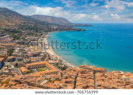 Aerial view of Cefalu in Sicily, Italy in a beautiful summer day #706756399