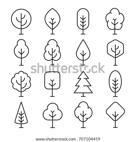 Tree line icon. Naturally beautiful symbol, wooden trunk and outline branches for map. Tree vector outline art illustration isolated on white background.  #707104459