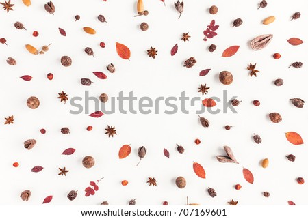 Autumn composition. Frame made of autumn things. Flat lay, top view, copy space. #707169601