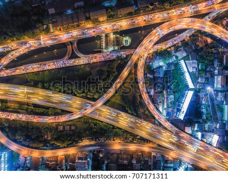 Aerial Top view highway overpass at night Thailand #707171311