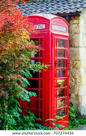 Red telephone booth, symbolic english red booth, england icon, communication, street phone #707274436