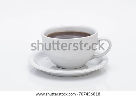 teapot tea with mug, white background with a space for a text #707456818