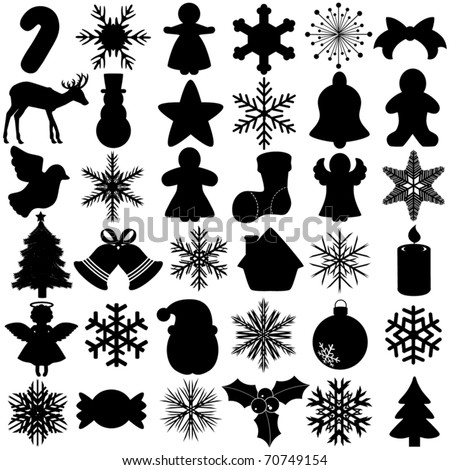 Silhouettes Vector of Snowflake Christmas Festival symbol with angel, bell, gingerbread, ball, Santa Claus. A set of cute icon collection isolated on white background