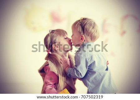Romantic kiss of the toddlers vintage