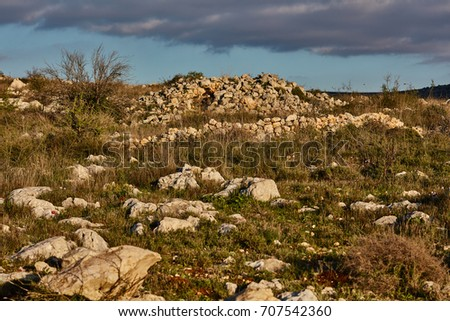 Mountain view at sunset time, Israel, Samaria #707542360