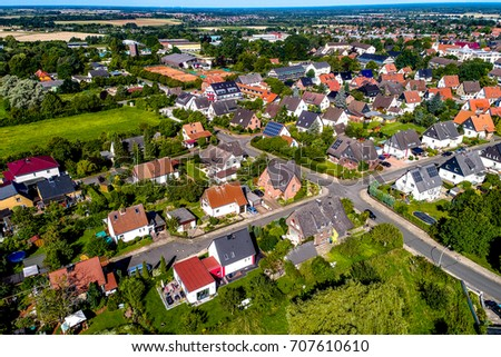 German suburb near Wolfsburg, aerial photo with the drone, single-family dwellings, little gardens #707610610