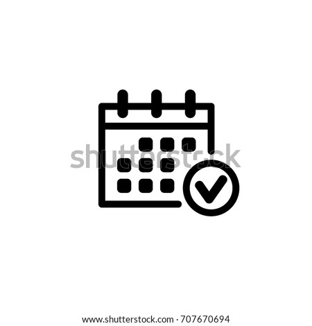 calendar, checkmark, vector icon Royalty-Free Stock Photo #707670694
