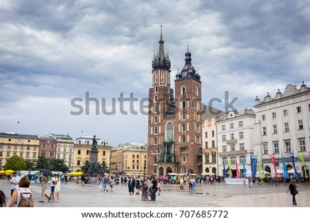 10 July 2017-Krakow, Poland - Old city center with ancient architecture. #707685772