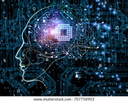 CPU Mind series. Abstract composition of human face silhouette and technology symbols for projects on computer science, artificial intelligence and communications #707758903
