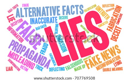 Lies word cloud on a white background.  #707769508
