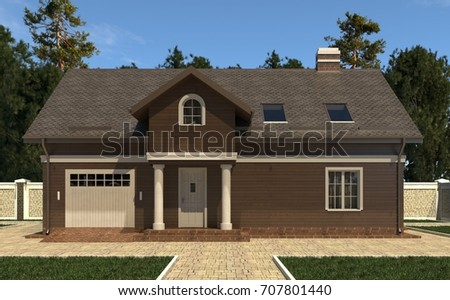 Photo realistic render of the house 3d illustration. #707801440