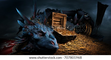 Fantasy scene with blue dragon, treasure chest and pile of golden coins. 3D illustration.