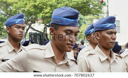Kuala Lumpur, Malaysia - 31th August 2017 : Policeman Parade during the Merdeka (independence day) celebration. #707802637