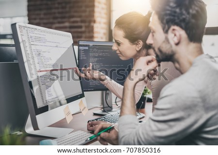 Developing programming and coding technologies. Website design. Programmer working in a software develop company office. #707850316