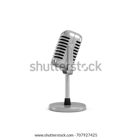 3d rendering of a silver metal retro tabletop microphone with a round base. Public speaking. Talking to audience. Master class. #707927425