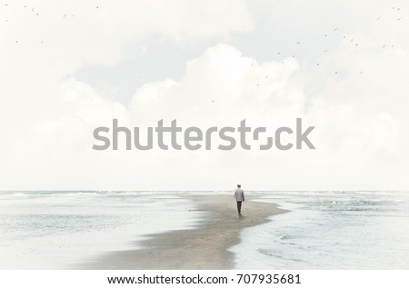calm man walking in the sand between two seas Royalty-Free Stock Photo #707935681