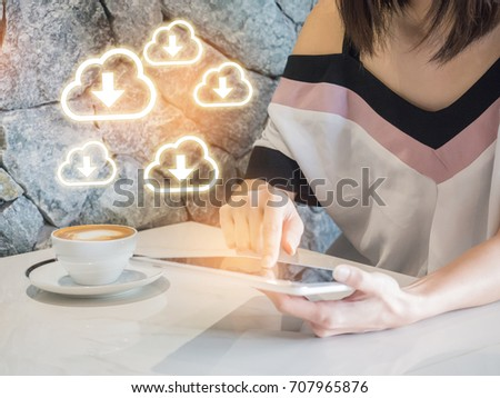 Woman play mobile,tablet  App Development Concept with Doodle design style mobile elements. mobile or tablet with cloud computing with blue background . #707965876