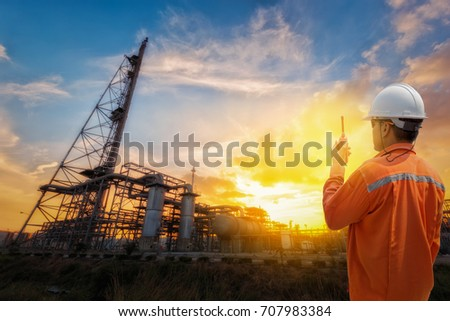 Oil and gas operator discussing. #707983384