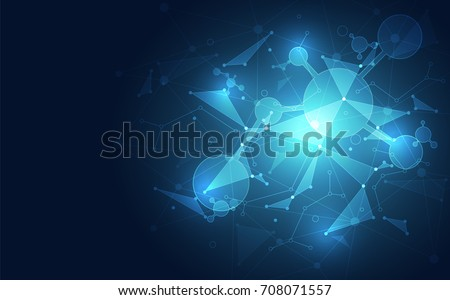 Abstract polygonal space background with blue technology. vector illustration #708071557