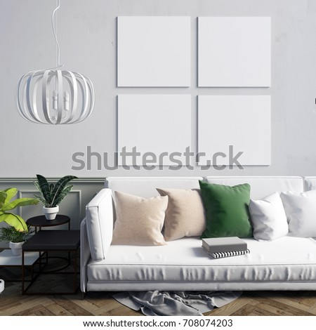 Mock up poster in interior with coffee table and sofa. living room. resting place. modern style. 3d illustration. #708074203