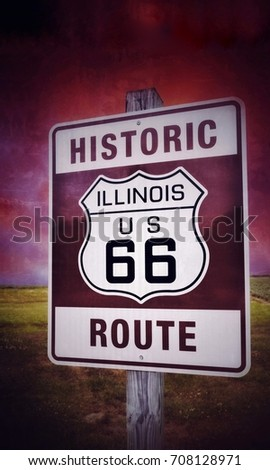 Historic Illinois Route 66 vintage sign with sunset. #708128971