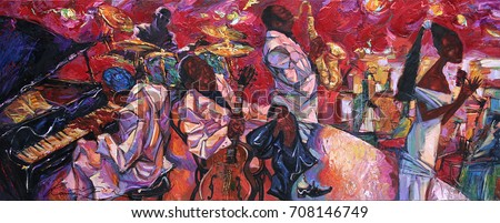 """singer, jazz club, saxophonist, jazz band, oil painting, artist Roman Nogin, series """"Sounds of Jazz.""""looking for partnerships with artdillers- contact facebook Royalty-Free Stock Photo #708146749"""