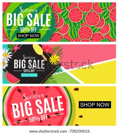 Summer Sale Abstract Banner Collection Set Background for your Business  Illustration