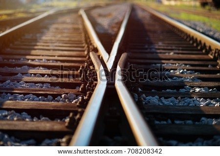 Railway crossroads. Choosing right way, making decision concept. Royalty-Free Stock Photo #708208342
