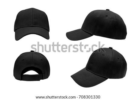 blank black baseball cap,hat 4 view on white background #708301330