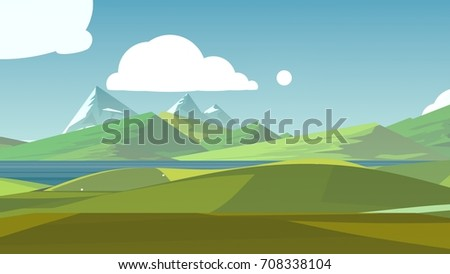 Cartoon landscape. Rural area. Countryside. Hills and fields. #708338104