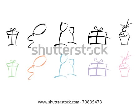 Colorful set of icons for party, holidays, celebrations, ...