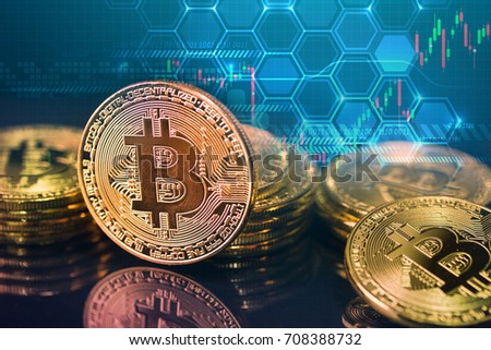 Bitcoins and New Virtual money concept.Gold bitcoins with Candle stick graph chart and digital background.Golden coin with icon letter B.Mining or blockchain technology #708388732