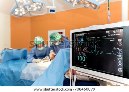 Medical monitor with doctor and an assistant in the operating room for surgical venous vascular surgery clinic #708460099