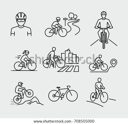 Bicycle rider vector line icons
