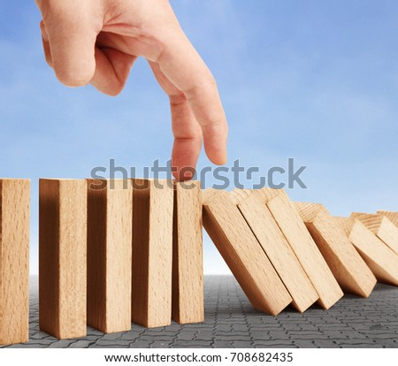 hand stop a dominoes continuous toppled #708682435