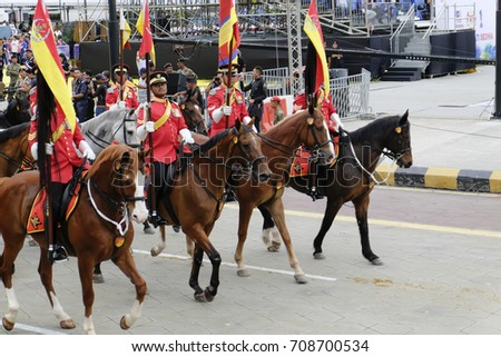 KUALA LUMPUR, MALAYSIA - 29 August 2017 : Malaysian armed forces parade during the full rehearsal for Malaysian Independence Day celebration. #708700534