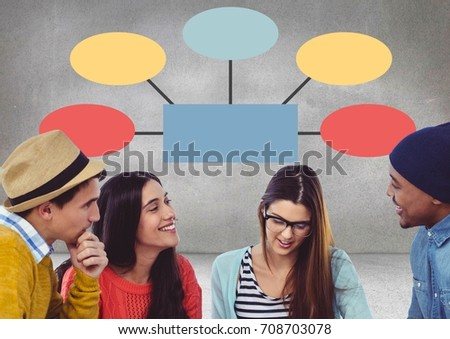 Digital composite of Group meeting with mind map #708703078