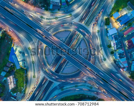 Aerial view  Expressway motorway highway circus intersection  #708712984