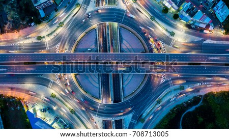 Aerial view  Expressway motorway highway circus intersection  #708713005