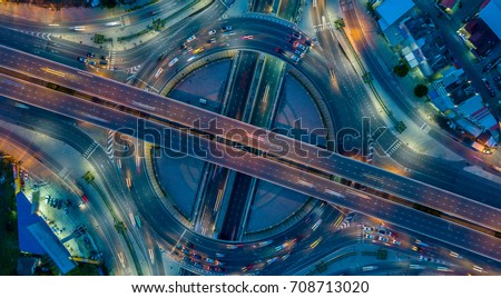 Aerial view  Expressway motorway highway circus intersection #708713020
