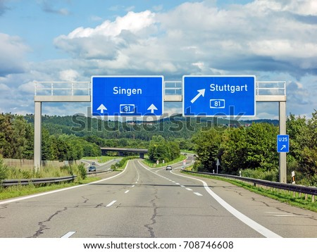 motoway road signs on (Autobahn 81 / A 81 / E 531) - exit to Stuttgart - direction to Singen