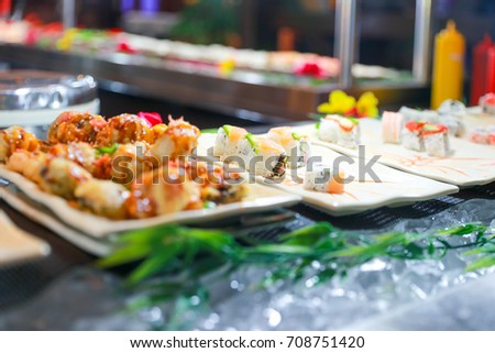 Sushi rolls with pickled vegetables #708751420